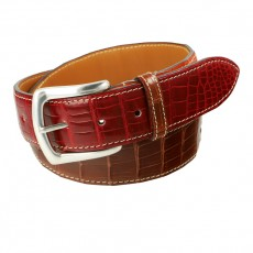 Alligator Gürtel glanz Three-Color gold/bordeaux/orange KN 40mm