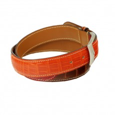 Alligator Gürtel glanz Three-Color gold/bordeaux/orange KN 35mm